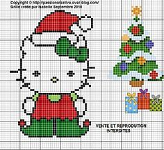 Free Hello Kitty Christmas Elf Perler Bead Pattern or Cross Stitch Chart