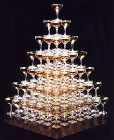 Champagne Tower Now all I have to do is like champagne or find something more fun Más Gatsby Theme, Great Gatsby Wedding, Dream Wedding, Wedding Day, Wedding Goals, Champagne Fountain, Champagne Tower, Wedding Themes, Wedding Designs