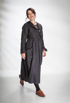 Bolero Jacket over Pleated Pinafore Dress in black linen.