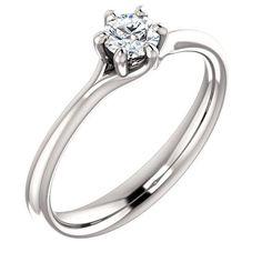 0.25 Ct Round Diamond Engagement Ring 14k White Gold