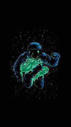 Hacker Wallpaper, Neon Wallpaper, Wallpaper Space, Black Wallpaper, Iphone Wallpapers, Gaming Wallpapers, Cute Wallpapers, Astronaut Drawing, Astronaut Wallpaper