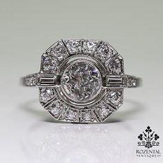 Antique Art Deco Platinum 0 83ctw Diamond Ring | eBay
