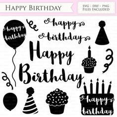 Happy Birthday SVG Files Birthday hat, party balloon, birthday cake svg cutting files Cricut and Silhouette SVG dxf png jpg included Birthday Cale, Art Birthday, Birthday Balloons, Happy Birthday, Doggy Birthday, Silhouette, Cricut Creations, Vinyl Lettering, Svg File