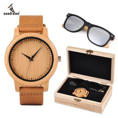 04f6ebccde BOBO BORD Bamboo Men Watch Wooden Sunglasses Suit Present Box Gift Set Women  Watches