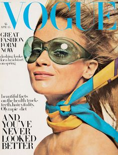 The cover of Vogue magazine in April 1968, showcasing some very cool plastic shades!