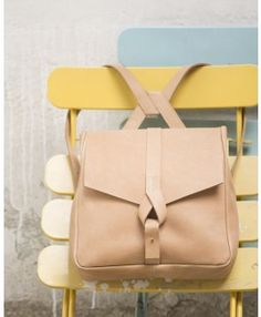 Beige leather backpack for girls. Girly backpack. Cute backpack made of leather.