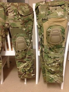 My first sewing project. Right side, genuine Crye Precision AC trouser. Left side, MTP issue trouser modified in the style of Crye