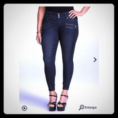 Torrid skinny jeggings! These are dark blue denim jeggings with skinny leg. They have back pockets and zipper details on front. Seriously only wore once! Found a different color I like better but had already taken tags off of these. You will love them! They are size 18 regular. They are obviously cute with heels but also rolled up with wedges or cute tennis shoes too! torrid Pants Skinny