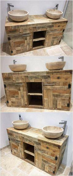 Pallet Bathroom Cabinet
