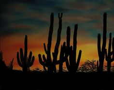 "Saatchi Online Artist: Aaron Thomas; Oil, 2012, Painting ""Cactus Sunset"""