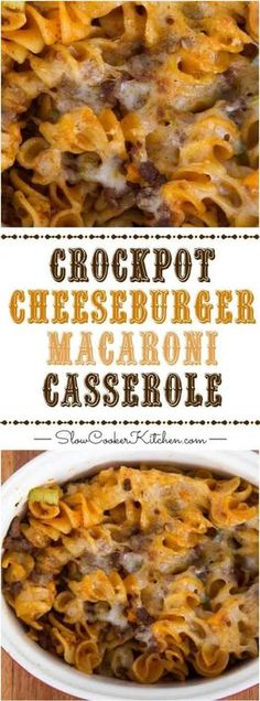 Crockpot Cheeseburger Macaroni Casserole If you're looking for a super easy, kid-pleasing crock pot recipe.give this cheeseburger macaroni casserole a try.it's yummy :) Crockpot Dishes, Crock Pot Cooking, Healthy Crockpot Recipes, Easy Cooking, Slow Cooker Recipes, Beef Recipes, Cooking Recipes, Chicken Recipes, Crock Pot Pasta