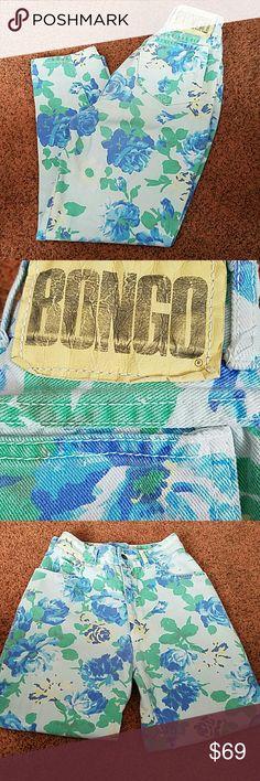 VINTAGE BONGO FLORAL JEANS VINTAGE BONGO FLOWERED JEANS VINTAGED SIZE 7....W23 L24....BEAUTIFUL BEAUTIFUL BEAUTIFUL  PRICE IS FIRM💚💙💙💚 BONGO Jeans Straight Leg
