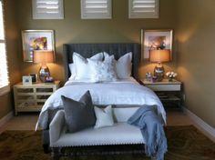 Oly Studio upholstered headboard in a gray faux bois silk!