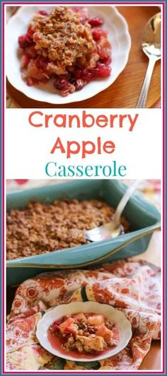 This Cranberry Apple Casserole Recipe is WICKED GOOD! With a crunchy buttery top, and a tart, sweet, soft center; you will make this recipe again and again! Pear Recipes, Cranberry Recipes, Best Dessert Recipes, Fruit Recipes, Sweet Recipes, Delicious Desserts, Breakfast Recipes, Cranberry Salad, Dessert Healthy