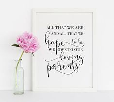 All That We Are And All That We Hope To Be We Owe To Our Parents, Wedding Signs, Wedding Quotes, Wedding Quote Sign, Wedding Signs Printable