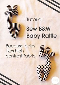 DIY baby rattle in chic black and white. Great unisex baby shower gift for that fashionista parent! More baby shower gifts to make at: http://www.sewinlove.com.au/category/kids/