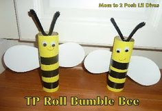 "Paper roll bumble bee craft-Do this and fill with Bit-O-Honey candy.  Tag that reads, ""I'm so excited to BEE your teacher""."
