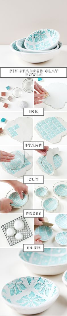 Make these Diy Stamped Clay Bowls // Click through for full tutorial