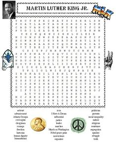 MARTIN LUTHER KING JR. WORD SEARCH PUZZLE * 30 words to search for in ...
