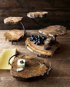 Petrified Wood Three Tier Server. These would be perfect for a rustic wedding dessert table!