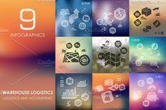 9 warehouse logistics infographics by Palau on @creativemarket
