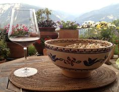 An old friend and fan in Switzerland is enjoying life with wine, chilipepper popcorn (in one of our limited edition Celebration Bowls), flowers and the most splendid view in the world! Irish Pottery, Enjoying Life, Pottery Making, Popcorn, Switzerland, Bowls, Ireland, Alcoholic Drinks, Celebration