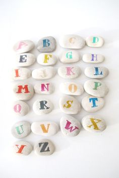 DIY alphabet stones - another fun kid project Projects For Kids, Diy For Kids, Cool Kids, Craft Projects, Crafts For Kids, Adult Crafts, Diy And Crafts, Arts And Crafts, Wood Crafts