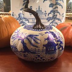 """Chinoiserie pumpkin . New size added to shop!  This one is 4.5"""" tall x10"""" wide and has an AMAZING stem even though it is 100% faux,"""