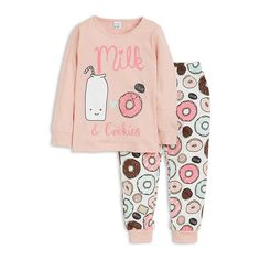 A super sweet, soft pyjama set with lots of donuts covering both top and legs.
