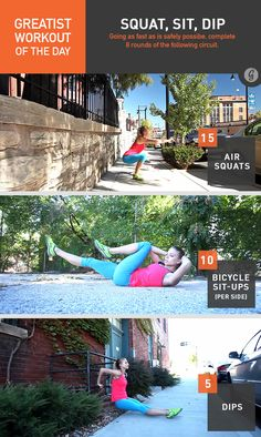 Greatist Workout of the Day: Squat, Sit, Dip #fitness #bodyweight #workout