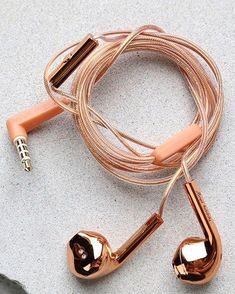 Top off your look with the head-turning Happy Plugs Earbud Plus Rose Gold Headphones! These fashionable earbuds feature a rose gold cord, and contoured metallic rose gold earpieces. Attached mic and remote. Works with all smartphones, tablets and play Phone Accessories, Jewelry Accessories, Fashion Accessories, Rose Gold Accessories, Trendy Accessories, Things To Buy, Girly Things, Stuff To Buy, Pink Headphones