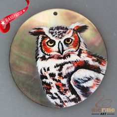 HAND PAINTED OWL BIRD NATURAL MOTHER OF PEARL SHELL NECKLACE PENDANT ZH30 00240 #ZL #PENDANT