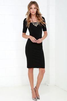 4ff19807146f Elevated Black Bodycon Midi Dress at Lulus.com! Black Midi Dress Bodycon,  Midi