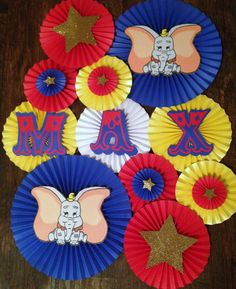 Circus/Dumbo Themed Paper Fans- Set of 13, Circus Birthday, Dumbo Paper Fans