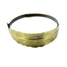 Antiqued Bronzed Solid Brass Feather Cuff Metal Bracelet $8.50
