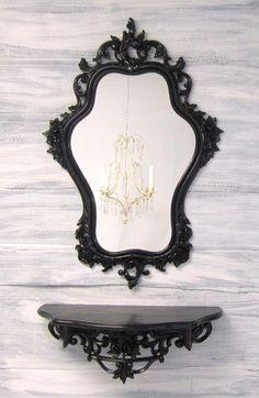 BLACK HOLLYWOOD REGENCY Mirror For Sale Vintage by RevivedVintage, $214.00