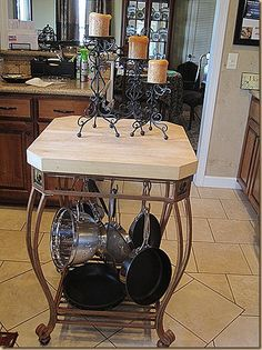 A neat way to hang pots in the kitchen.