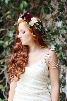 Design/ Allie Anderson from Presh Events. Kimberlee Miller Photography. Florist Petaling a Dream. #styledshoot #floralcrown #bohobride