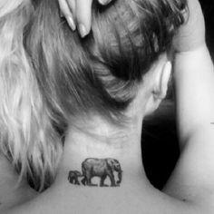 Elephant tattoo, mother daughter tattoo