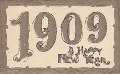 $3.99 1909  A Happy New Year antique postcard, embossed, sparkles wooden looking frame