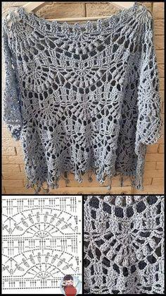 Crochet Shorts Pattern, Crochet Jumper, Crochet Collar, Crochet Diagram, Crochet Blouse, Love Crochet, Crochet Motif, Crochet Stitches, Crochet Top