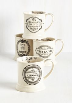 Absolutely Positive Mug Set. We have no doubt that this set of four ceramic mugs will set your morning off on the right foot! #multi #modcloth