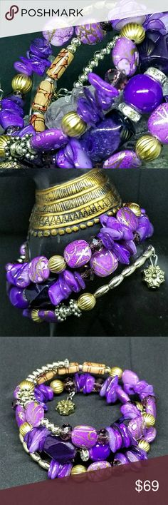 🌌Purple Carved Boho Harmony Beaded Bracelet 🌌This gorgeous purple carved barrel-bead bracelet is one-size fits all & snakes up the arm w/ antiqued charms on each end. Beads & hardware is high-quality & looks expensive without looking too mainstream. I love the purple shimmer w/ antique charms to balance. The gold shimmer tops the cake. Perfect versatile bracelet! NIB!🌌 sevil Jewelry Bracelets
