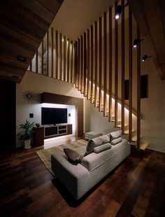 House is a private residence designed by Architect Show Co. in It is located in Hasami, Nagasaki, Japan, and makes extensive use of differently-toned wood to link the different spaces of the home. Photos courtesy of Architect Show Co. Home Stairs Design, Interior Stairs, Interior Architecture, House Design, Interior Design, Japan Architecture, Luxury Interior, Online Architecture, Stair Design