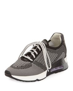 S0CMV Ash Lucky Knit Lace-Up Sneaker, Marble/Black