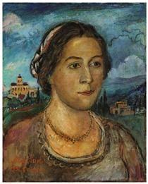 Portrait of Marussia Burliuk - David Burliuk