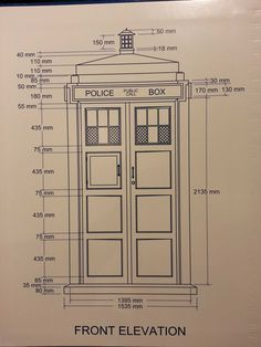 Tardis plans with dimensions. Doctor Who Craft, Doctor Who Tardis, Tardis Door, Tardis Bookshelf, Tardis Art, Doctor Who Companions, Police Box, Dalek, Dr Who