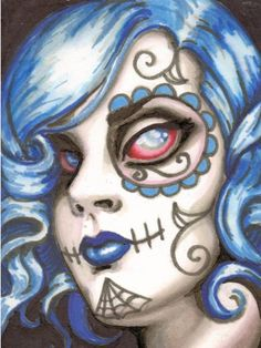 ACEO Zombie Sugar Skull Girl Spooky Lil' Girl by ShayneoftheDead, $40.00