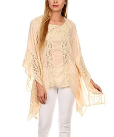 Another great find on #zulily! Light Pink Lace-Panel Cape-Sleeve Handkerchief Tunic - Plus Too #zulilyfinds
