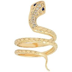 Iconery 14K Yellow Gold Snake Ring with Diamonds ($1,520) ❤ liked on Polyvore featuring jewelry, rings, gold jewellery, 14 karat gold ring, 14k diamond ring, diamond rings and yellow gold rings